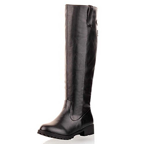 BalaMasa Womens Low Heels Knee High Solid PU Boots Black