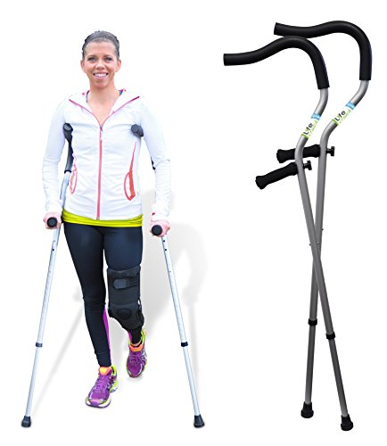 The Life Crutch - 1 Pair of Universal Size Crutches 4'6' - 6'7' with Adjustable Ergonomic Handles for Adults and Children