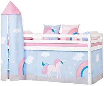 Hoppe Kids Cuna Unicorn Unicornio con torre, Cortina, colchón ...