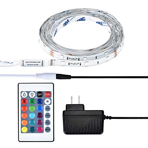 PryEU RGB LED Strip Lights 2M Waterproof Color Changing IR Remote Control 5050 SMD with 12V Adapter for Room Bedroom Kitchen Cabinet Bed Wardrobes Ambient Lighting (Double Coated Tissue Tape)