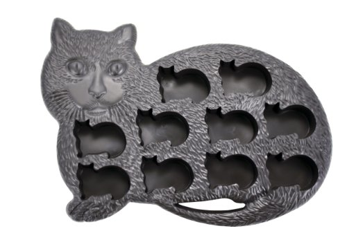 Fairly Odd Novelties Novelty Gag Gift Cat Kitten Shape 10-Ice Cube Tray Mold, Rubber, Black