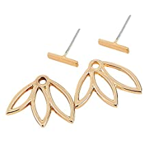 AENMIL 1Pair Women Lotus Pierced Earrings, Simple Personality Alloy Earring Ear Hook Stud Jewelry - Gold