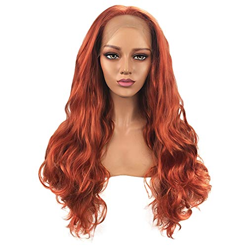 - L-SLWI European and American Long Curly Hair Wig, Front lace Hand Hook Ladies Wig Headgear