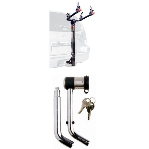 Allen Sports Deluxe 2-Bike Hitch Mount Rack with 1-2 Inch Receiver, Silver/Black and Master Lock 2866DATSC Swivel Head Receiver Lock, (Receiver Swivel Hitch)