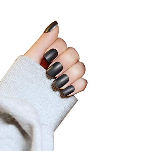 JINDIN Black Matte French Fake Nails Manicure Natural False Nails Short Full Cover Design for Women 24 pcs/set ()