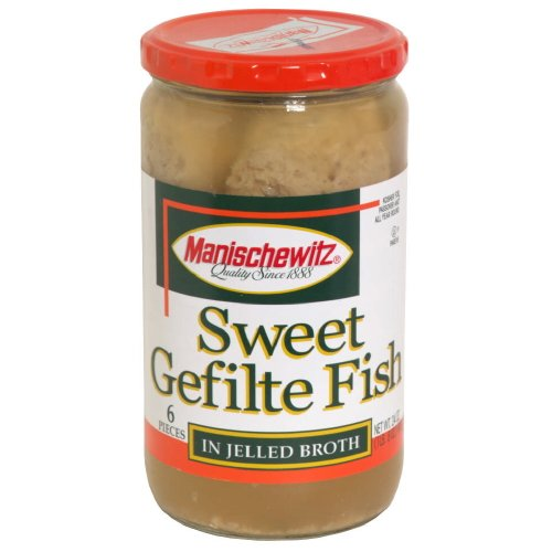 Manischewitz Gefilte Fish Sweet No MSG, 24-Ounce Glass (Pack of 3) ()