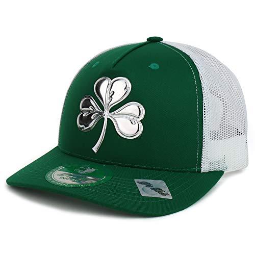 Trendy Apparel Shop High Frequency Three Leaf Clover Irish Mesh Trucker Hat - Green White