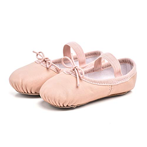 Cute stars Girls Leather Dance Ballet Shoes Slippers for Girls/Kids/Toddlers(9MT,Ballet Pink) -