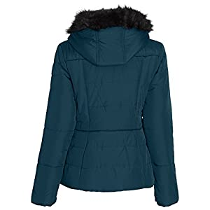 Sportoli Junior Women's Rouched Detail Winter Coat Hooded Short Puffer Jacket (Evergreen/M)