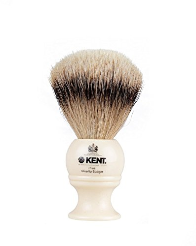 - Kent BK4 Cream Traditional Small Silver Tip Badger Shave Brush