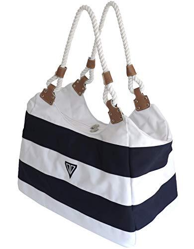 WildStage XL Strandtasche groß mit Reißverschluss und Innentasche 45x24x36 cm, Damen Shopper groß, schultertasche, Weekender, Saunatasche, Umhängetasche in blau/weiß