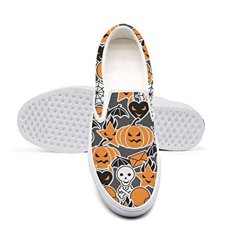 Classic Hip hop Loafers Skate Men's Canvas Shoes-Pumpkin Spider Web Skull Halloween Style Sport Shoes Sneakers -