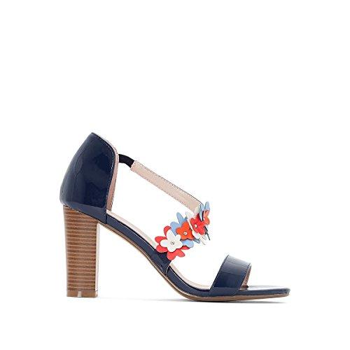 La Redoute Womens Flower Detail Heeled Sandals Blue