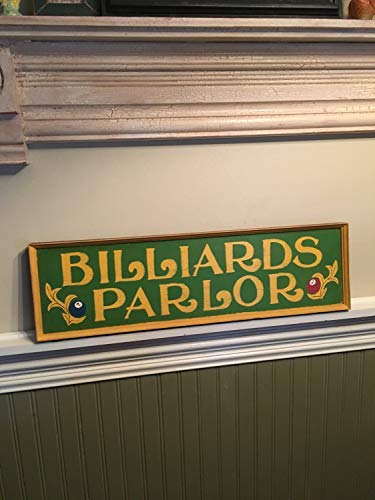 weewen Billiards Parlor Sign Early 1900S Reproduction Birthday Gift Man Cave Gift for Himpool Hall Sign Billiards Sign Antique Wood Signs Wall Art Farmhouse Style Hand Painted Plaque ()