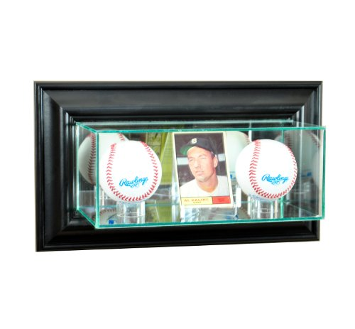 - Perfect Cases MLB Wall Mounted Card and Double Baseball Glass Display Case, Black