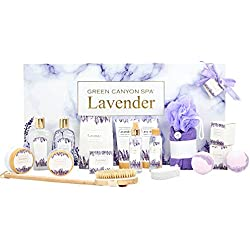 Green Canyon Spa 19 Pcs Lavender Spa Gift Baskets for Women Most Luxurious Christmas/Birthday Bath Gift Set Contains Bath Bombs Shampoo Bar Body Scrub Dry Hair Cap Reed Diffuser and Much More