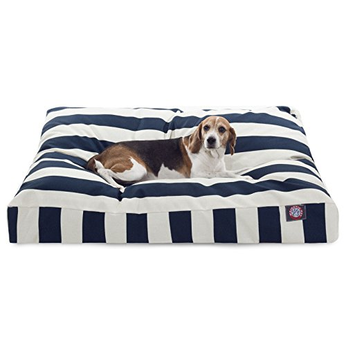 Navy Blue Vertical Stripe Large Rectangle Indoor Outdoor Pet Dog Bed With Removable Washable Cover By Majestic Pet Products