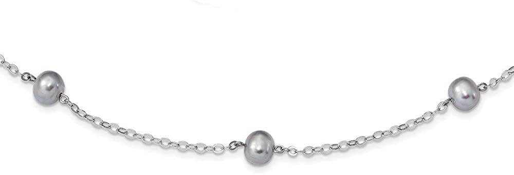 Necklace Jewelry Necklaces Pearls Sterling Silver Rhodium-plated 7-8mm Grey FWC Pearl with 2in ext