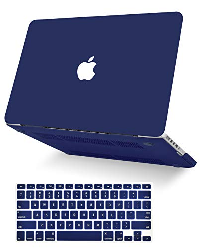 """KECC Laptop Case for MacBook Air 13"""" Retina (2020/2019/2018, Touch ID) w/Keyboard Cover Plastic Hard Shell Case A1932 2 in 1 Bundle (Matte Navy)"""