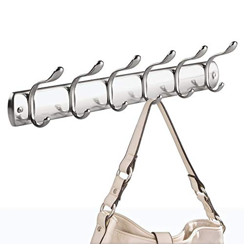iDesign Bruschia Metal Wall Mount 6-Hook Rack for Coats, Leashes, Hats, Robes, Towels, Jackets, Purses, Bedroom, Closet, Entryway, Mudroom, Kitchen, Office, 20