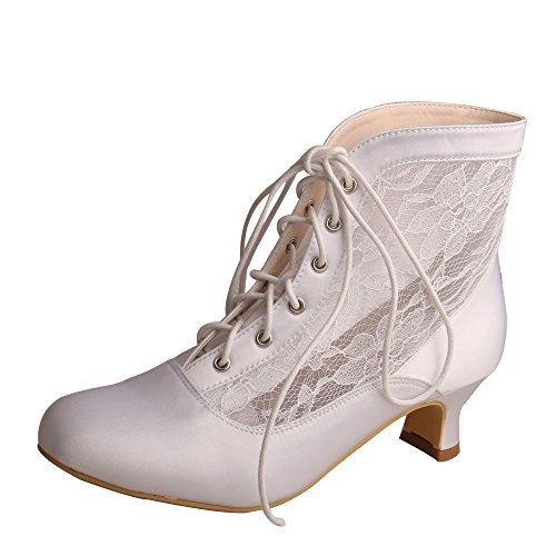 Wedopus MQW7004 Women's Round Toe Lace-up Boots Low Heel Lace Satin Western Wedding Bride Boots Size 8 White by Wedopus