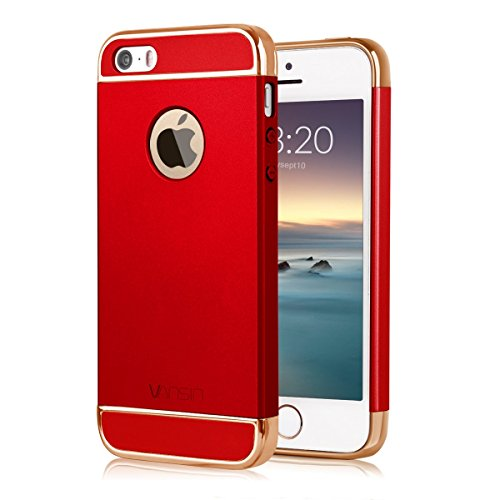 iPhone 5S case, iPhone SE Case, Vansin 3 In 1 Ultra Thin and Slim Hard Case Coated Non Slip Matte Surface with Electroplate Frame for Apple iPhone 5, iPhone 5S, iPhone SE -- Red & Gold