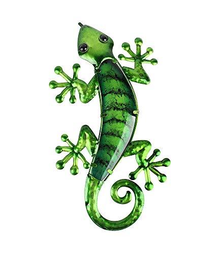 Liffy Metal Gecko Wall Art Lizard Outdoor Decor Glass Garden Decorations Green, 15.6 Inches Long ()