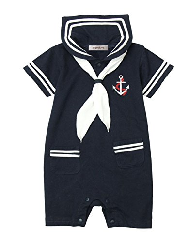 Navy Blue Sailor Costumes (StylesILove Baby Boy Marine Sailor Costume Romper Onesie (80/6-12 Months, Navy Blue))