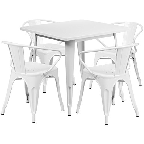 MFO 31.5'' Square White Metal Indoor-Outdoor Table Set with 4 Arm Chairs