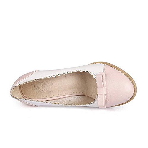 Balamasa Dames Tweekleurige Stevige Hielen Uitgehold Urethaan Pumps-schoenen Roze