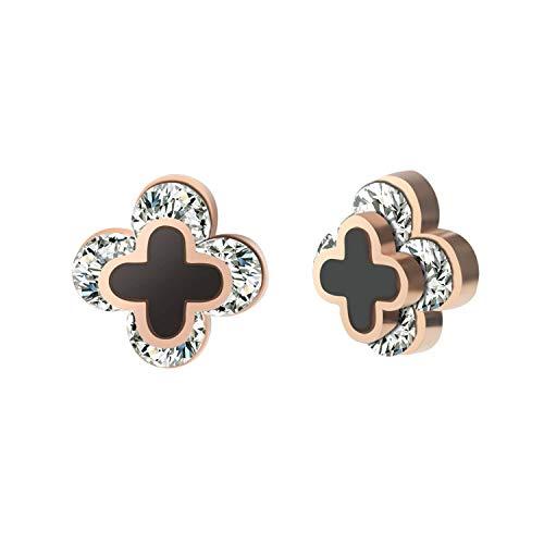 Guy-Sex hot Rose Gold Earrings New for Women Female Brincos Earings Fashion Jewelry Clover Flower Earrings Stainless Steel,Type3