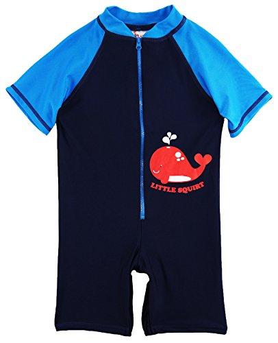 Sweet & Soft Little Boys' Whale Squirt Animal Print 1-Piece Swim Rash Guard, Navy, 4T