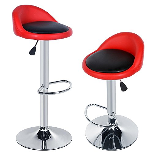 New Bar Chairs 2pcs Synthetic Leather Adjustable Rotating Height Bar Stool Chair for Home, Kitchen, Office US STOCK (Red Black) by Hindom