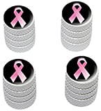 "(4 Count) Cool and Custom ""Diamond Etching Pink Breast Cancer Ribbon Top with Easy Grip Texture"" Tire Wheel Rim Air Valve Stem Dust Cap Seal Made of Genuine Anodized Aluminum Metal {Radiant Kia White and Black Colors - Hard Metal Internal Threads for Easy Application - Rust Proof - Fits For Most Cars, Trucks, SUV, RV, ATV, UTV, Motorcycle, Bicycles}"