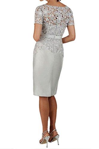 Missdressy vestido de noche para Mujer, largo por la rodilla, mangas de Charmeuse plata