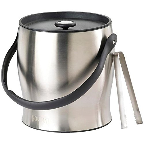 Metrokane W4710T Houdini Double-Walled Ice Bucket with Tongs, 10 x 11x 11, Silver
