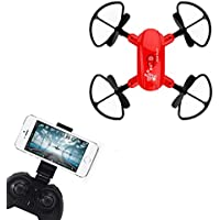 Mini Quadcopter Drone, D10WH Foldable With Wifi FPV HD Camera 2.4G 6-Axis RC For Kids Adults Beginners - Headless Mode, 3D Flip, One Key Return (Red)
