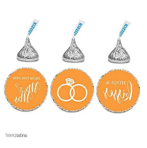 Gatton Chocolate Drop Labels Stickers, ding Hugs & Kisses from The New Mr. & Mrs, Orange, 216-Pack, for Bridal Shower Engagement Hershey's Kisses Party Favors Decor | Model WDDNG - 2563 | -