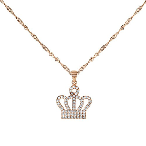 925 Sterling Silver CZ Princess Crown Pendant Necklace Charm Kids Girls 16