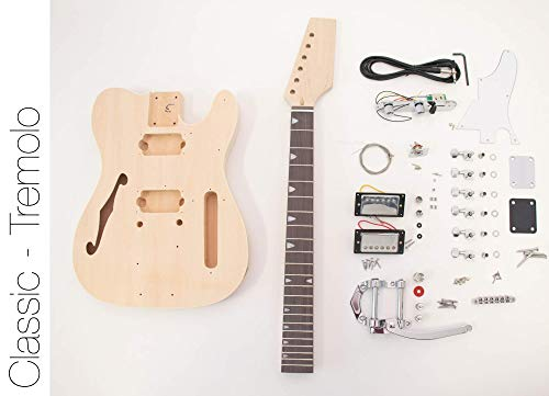 The FretWire DIY Electric Guitar Kit TL Thinline Tremolo Style Build Your Own Guitar Kit