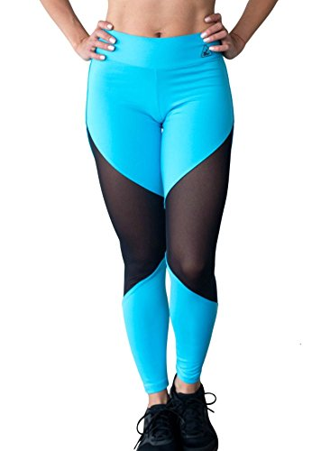 Up Vibe Yoga Fashion Women's Diva Sheer Mesh Turquoise Leggings Small Medium by Up Vibe Fitness Wear