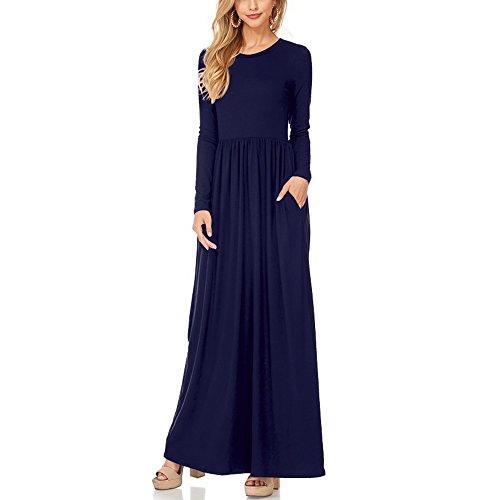YS.DAMAI Women Long Sleeve Loose Plain Maxi Dresses Casual Pleated Long Dresses with Pockets(Dark Blue,XL)
