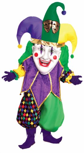 Gras Mardi Costumes Amazon (Forum Parade Pleasers Oversized Mardi Gras Jester Costume, Green/Gold/Purple,)