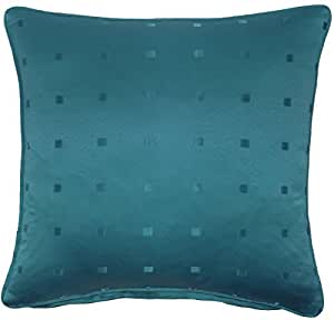 """FILLED JACQUARD CHECK TEAL 18"""" 45CM PIPED PILLOW CUSHION"""
