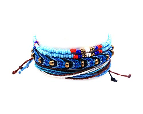 ired Tribal Seed Bead Bracelet Gold Beaded Macramé Bracelet Multi Strand String Bracelet Multicolored Layered Stackable 3 PC Pull Tie Jewelry Set (Light-Blue/Brown/White) ()