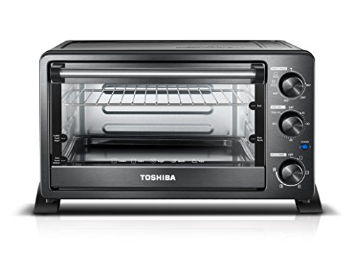 Toshiba MC25CEY-BS Convection Oven, 6-Slice Bread/12-Inch Pizza, Black Stainless Steel