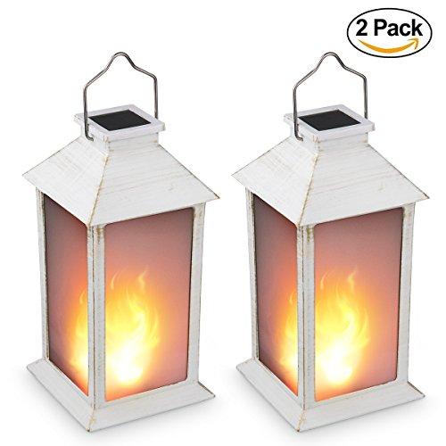 13' Vintage Style Solar Powered Candle Lantern(Metallic Coating White,Plastic),Solar Garden Light with Vivid Fire Effect,Outdoor Solar Hanging Lantern,Decorative Candle Lanterns ZKEE (Set of 2)