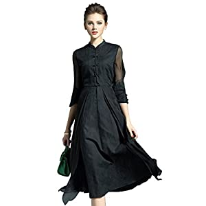 Vintage Women's Retro Linen Cotton 3/4 Sleeves A Line Casual Swing Dress