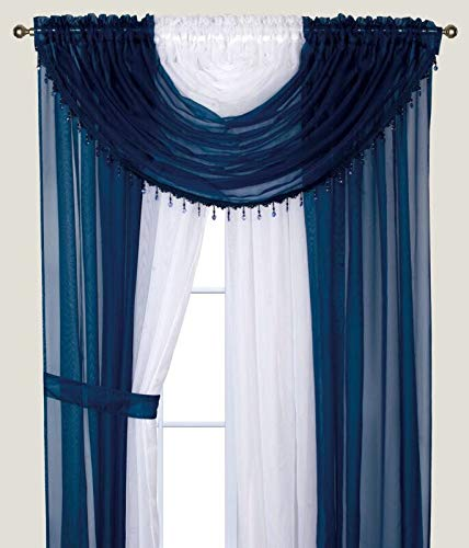 Elegant Home Complete Multicolor Window Sheer Curtain All-in-One Set with 4 Attached Panels and 2 Valances and Two Tiebacks for Living Room, Dining Room, Or Any Other Windows- L (Navy Blue/White) (Beads Curtains For Living Room)