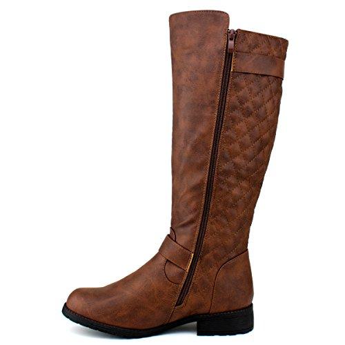 Flat Knee Knee Side Riding High Heel High Shoe Standard Heel Sexy Boots Easy Zip Brown High Quilted Boot Women's B Premier xnFX0Bq